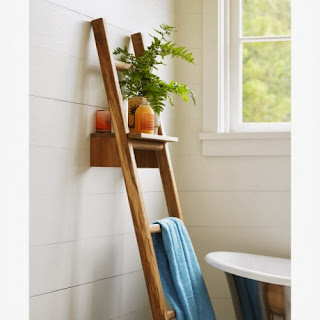 DIY Ladder Towel Rack