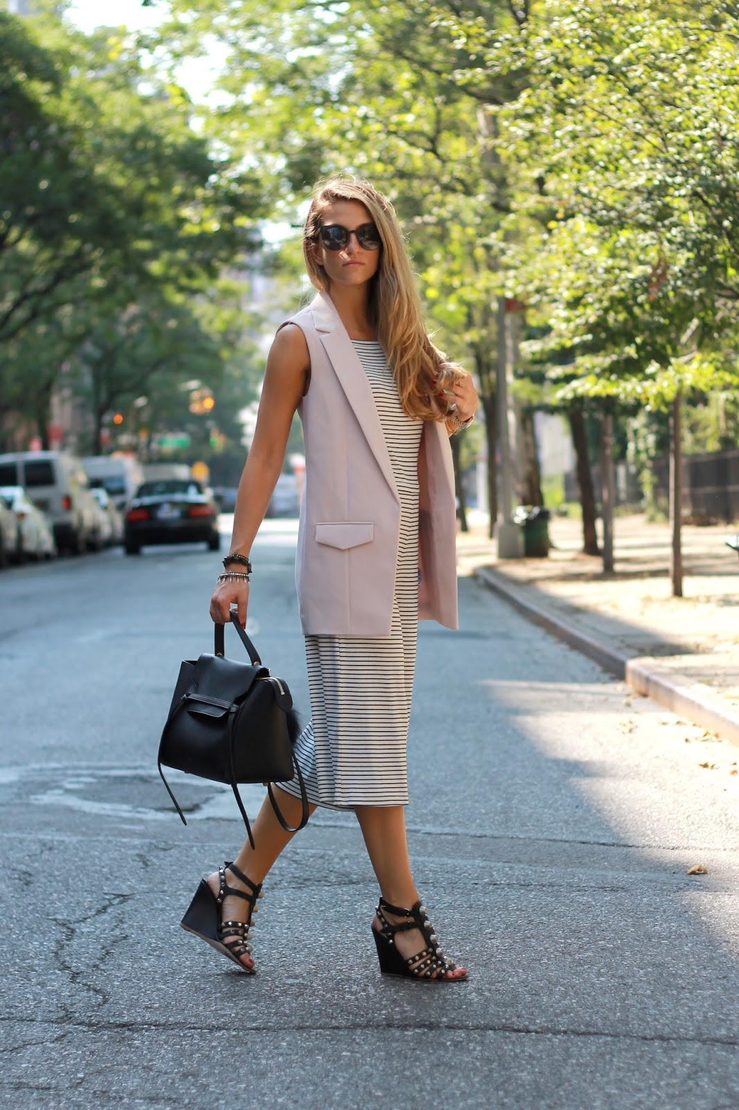 dressed for dreams in sleeveless blazer outfit ideas, celine belt bag