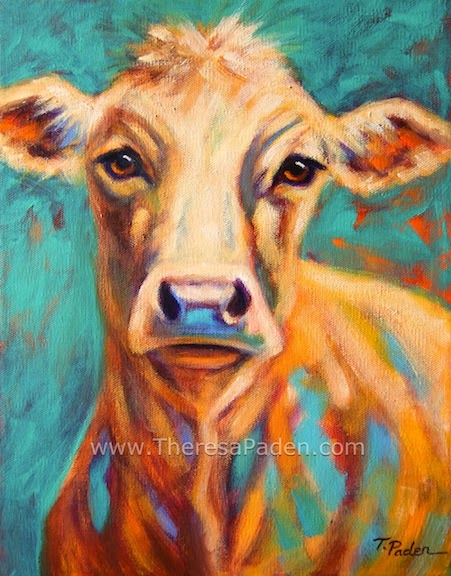 Colorful Cow Painting by Theresa Paden