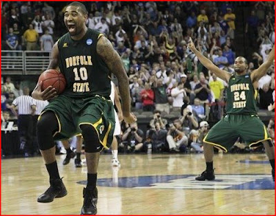 Kyle OQuinn dominated Missouri and inside and celebrates Norfolk State's huge upset