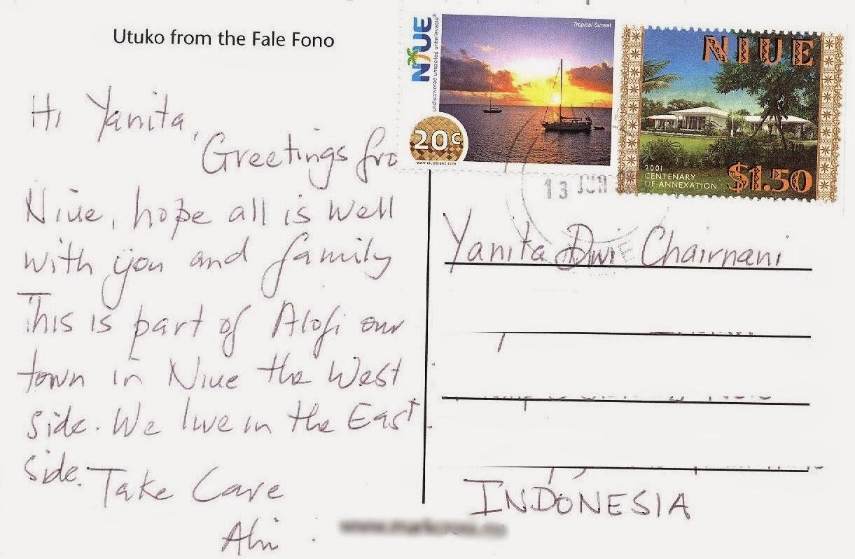 My World In Written And Stamped Postcards Niue Island Alofi