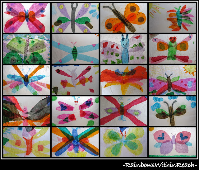 photo of: Tissue Paper Butterfly Bulletin Board (RoundUP via RainbowsWithinReach)