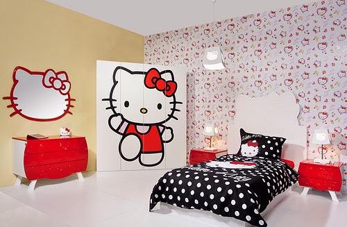 Gambar Desain Kamar Tidur Anak Hello Kitty
