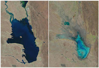 This photo combo of satellite images provided by the USGS shows Lake Poopo on Oct, 11, 1986, left, and almost dry on Jan. 16, 2016, right. As Andean glaciers disappear so do the sources of Poopo's water. (Credit: USGS—AP) Click to Enlarge.