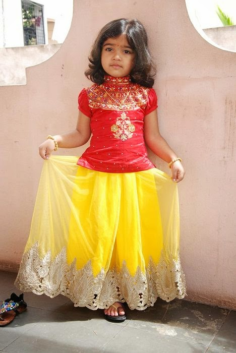 Baby in Lemon Yellow Lace Skirt