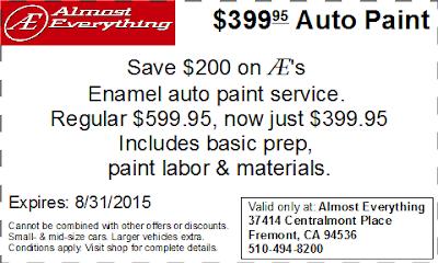Coupon $399.95 Auto Paint Sale August 2015