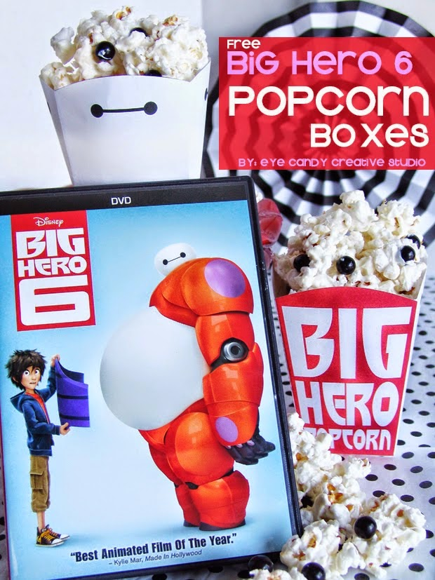 big hero 6 movie, free popcorn boxes, baymax, disney movie, baymax popcorn boxes