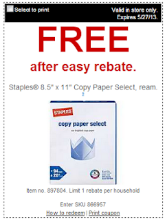 free staples paper coupon