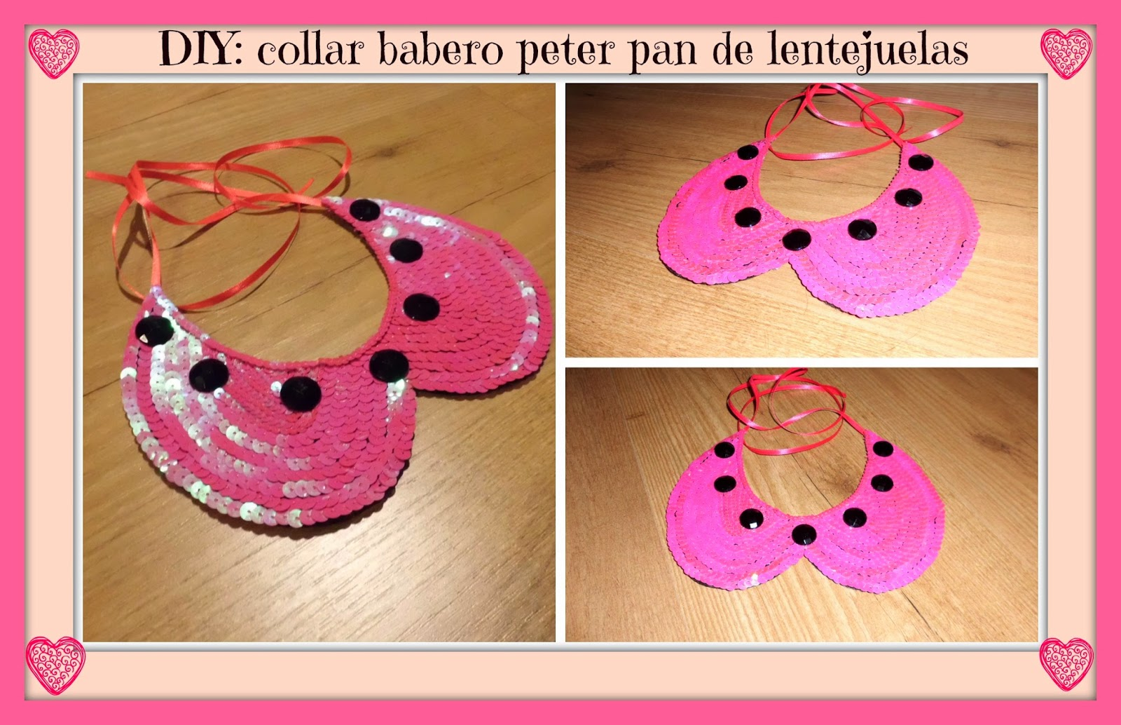 DIY :collar babero peter pan de lentejuelas / DIY bib necklace peter pan