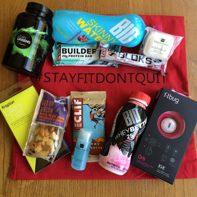 goody bags from get the label #stayfitdontquit campaign at propertea rooms manchester