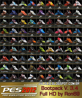 Bootpack v3.4 com 81 Chuteiras Full HD, Pack de Chuteiras HD, Novas Chuteiras 2012 para PES 2012 Download, Baixar Bootpack v3.4 - 81 Chuteiras Full HD para PES 2012