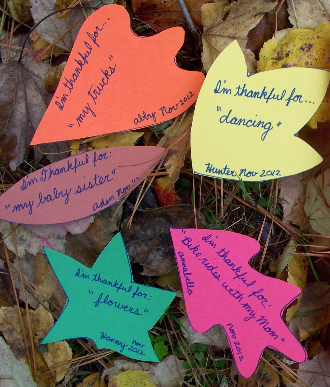 Each leaf lists something that the child is thankful for.