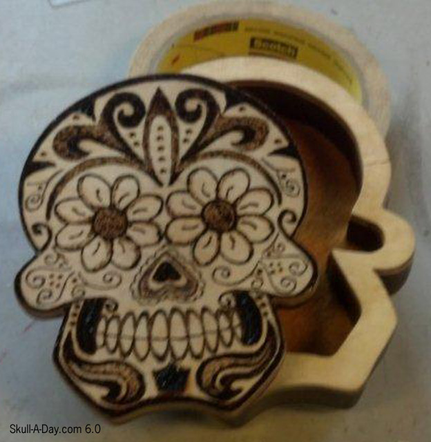 Wood Burned Skull Jewelry Box