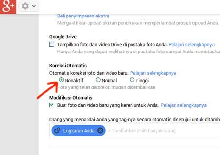 Settingan gambar/foto pada akun Google+ yang dapat mempengaruhi gambar/foto yang kita upload
