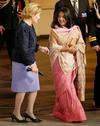 Queen Sonja of Norway (L) and daughter of The President of India Sharmistha Mukherjee attend a guided tour at the Oslo City Hall during Day-1 of the state visit from India