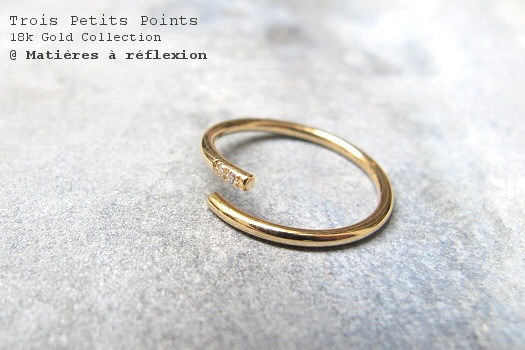 Bague diamant or jaune Trois Petits Points