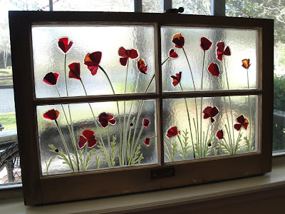 Finished fused glass Antique Recycled Window with Red Poppies and Ladybugs by flutterbybutterfly