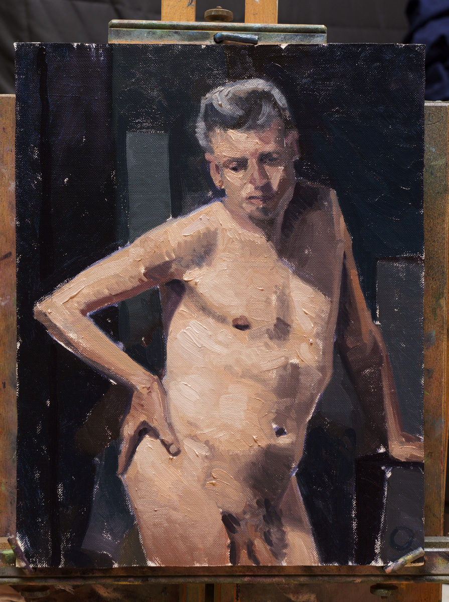 A Figure Painting From The Tuesday Night Life Group Still On Box Easel