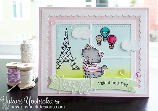 Kitty in Paris Valentine Card by Yukari Yoshioka | Newton Dreams of Paris stamp set by Newton's Nook Designs #newtonsnook