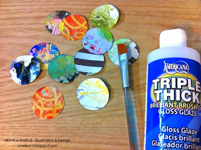 Gelli print circles and Gloss Glaze; Brilliant Paper Clips by Martice Smith II