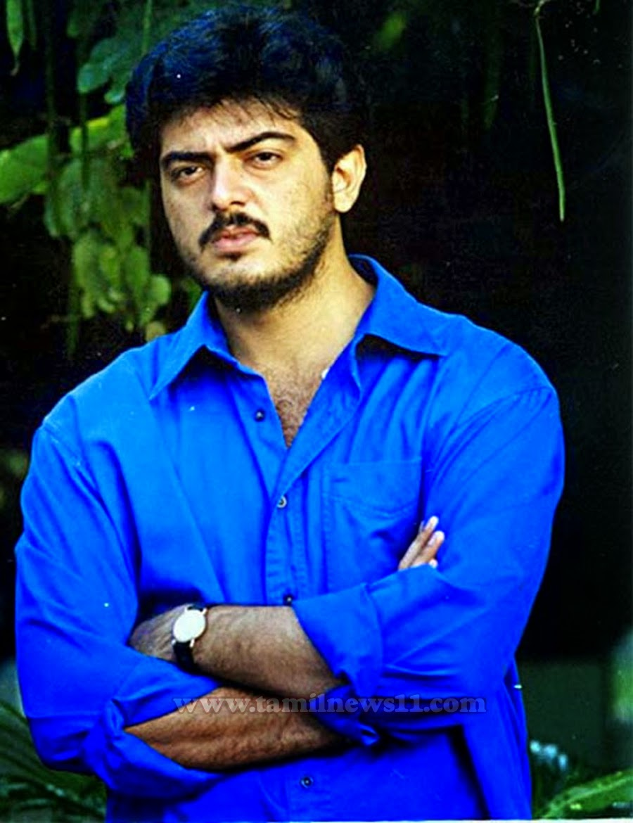 Ajith old movie Mugavari cute handsome blue shirt light bear photo ...