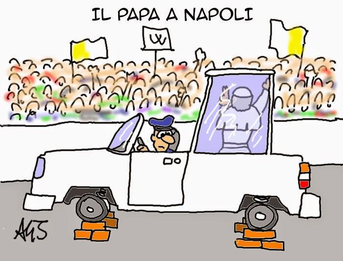papa francesco, Napoli, satira, vignetta