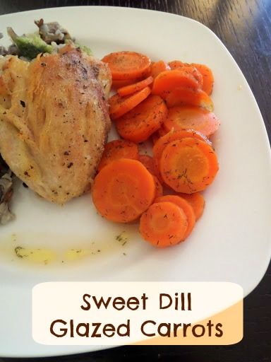 Sweet Dill Glazed Carrots:  Tender orange carrots cooked in a butter, brown sugar, and dill sauce.  A colorful and flavorful vegetable side dish.