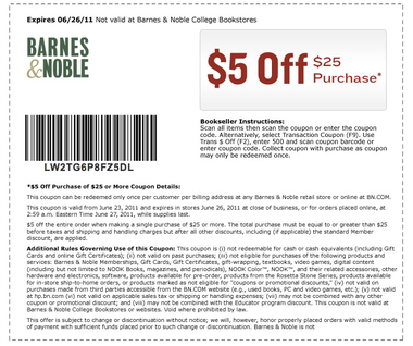 Barns and noble coupon code
