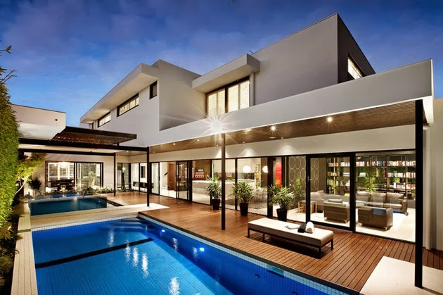 Rumah ultra estetika modern yang sangat rapi, bersih, gaya arsitektur
