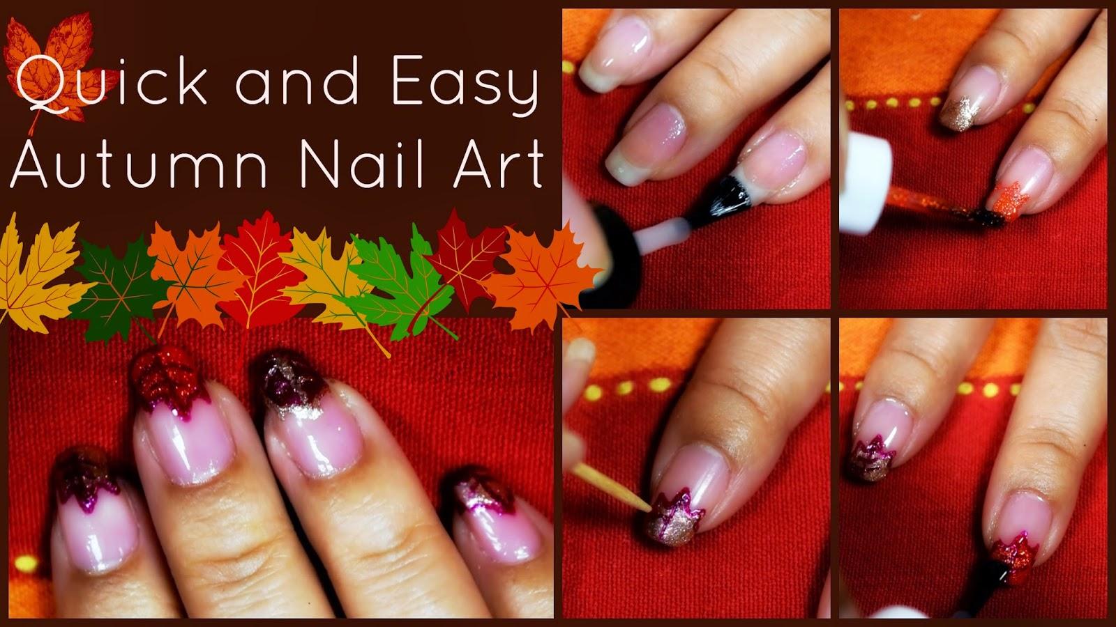 MakeupMaiWorld: Quick and Easy Autumn Nail Tutorial - Autumn Leaves