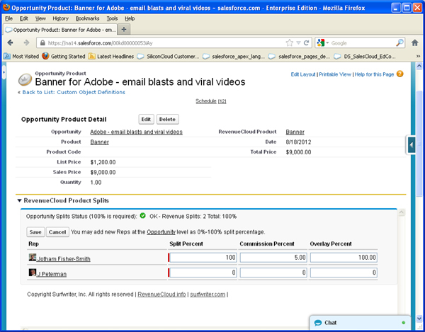 Create Product Splits Salesforce Opportunity Product - RevenueCloud™