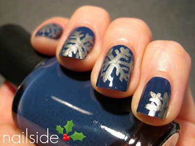 christmas nail art design blue