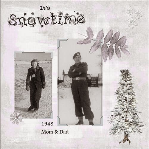 lo 2 - Mom & Dad in the snow . 1948