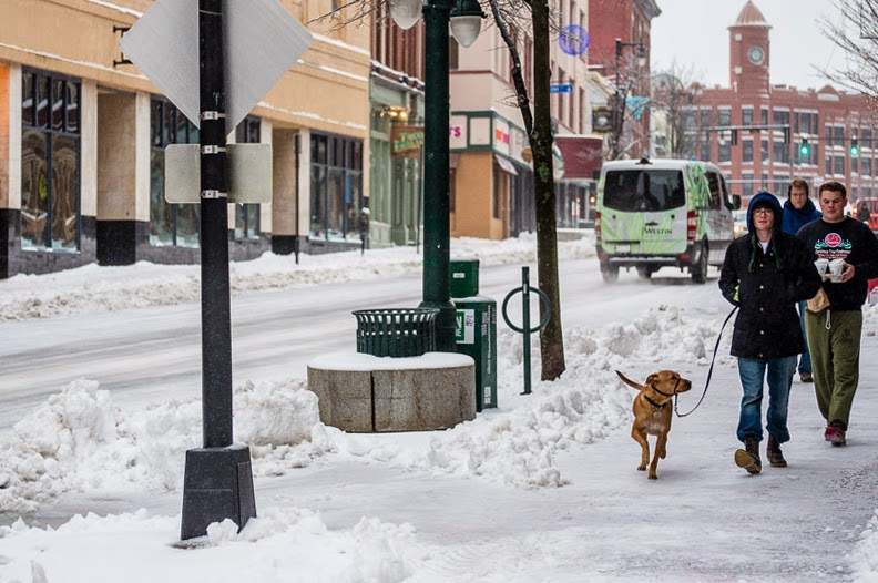 Portland, Maine January 2015 Congress Street at Casco Street sidewalk present day snow photo by Corey Templeton