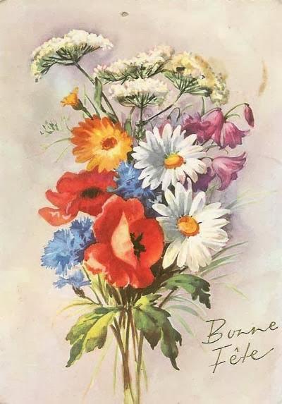Carte postale ancienne Bonne fête fleurs