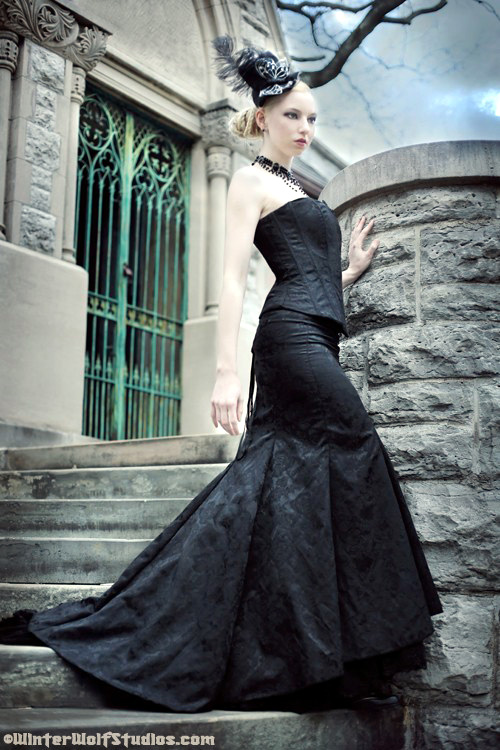 Stardust Gothic Steampunk Black Corset Wedding Dress