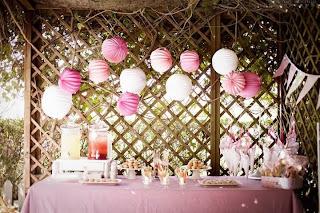 Decoracin de fiestas exteriores estilo vintage en color rosa