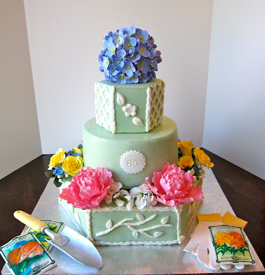 Cake Decorating Gardeners Road : Cakegirl on the Run: Garden Theme 80th Birthday Cake