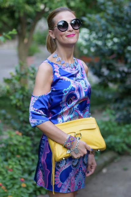 satin mini dress, Rebecca Minkoff yellow bag, summer dress, Fashion and Cookies, fashion blogger