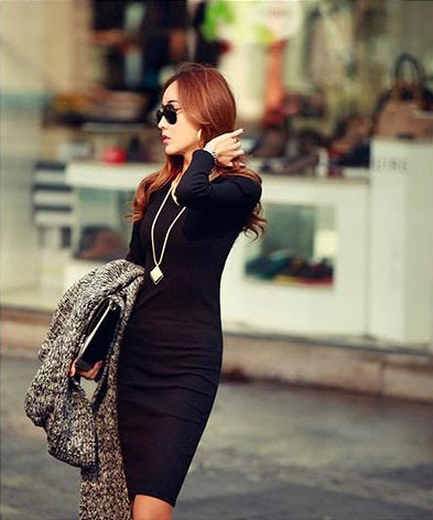 V Neck Basic Slim Dress