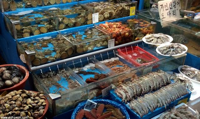 Marisco coreano en el mercado de Noryangjin