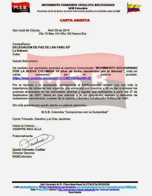 Carta Abierta a Delegación de Paz de las FARC-EP:
