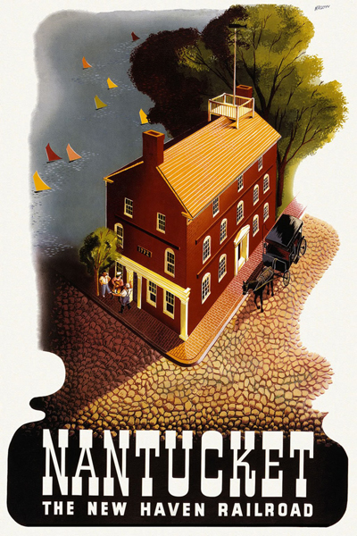 classic posters, free download, graphic design, retro prints, travel, travel posters, vintage, vintage posters, railroad, Nantucket, The New Haven Railroad - Vintage Travel Poster