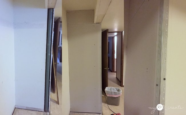 Now How To Deal With The Drywall Issue. The Pole Was Flush With The Closet  Wall And Room Wall, So Patching It Would Cause A Half Inch Bump In The Wall,  ...