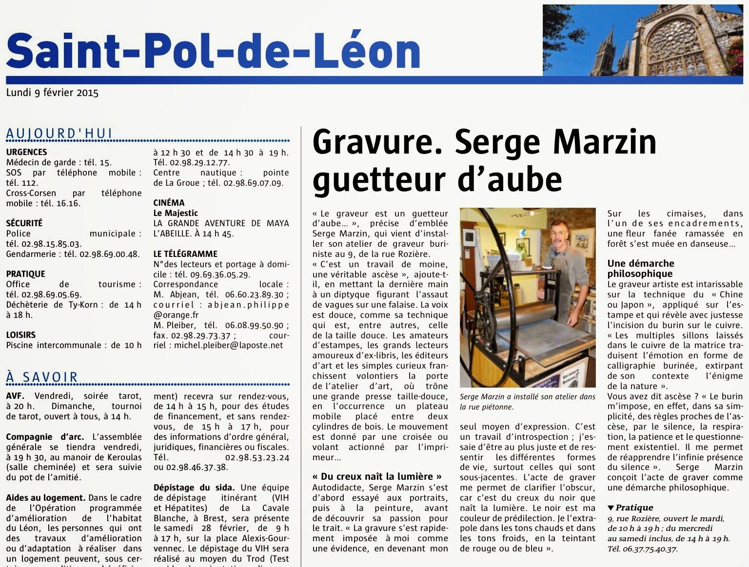 Serge Marzin graveur Saint Pol de Léon