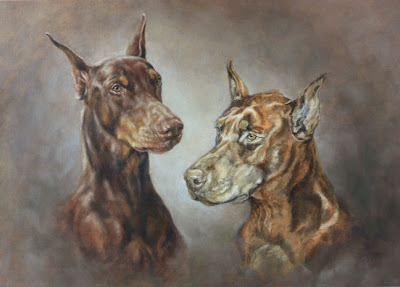 Doberman Dog Portrait by Lori Levin
