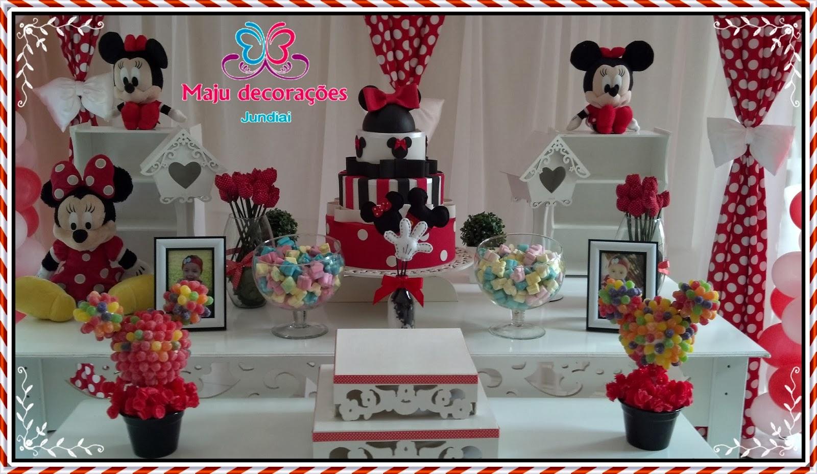 Jundiaí Decoração Provençal Minnie Vermelha e centro de mesa