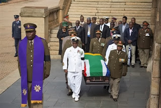 Soldiers carrying Nelson Mandela's casket