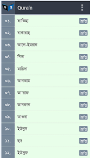 List of all sura name in Bangla.