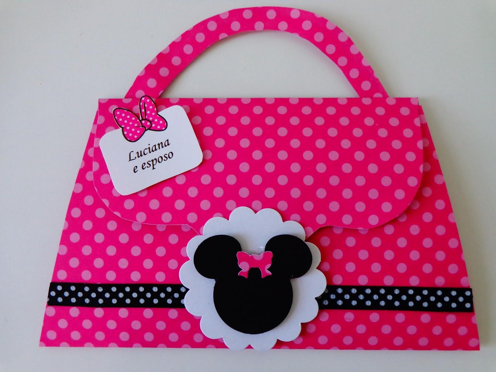 Minnie Rosa Convite Bolsinha Minnie Rosa Convite Bolsinha Minnie Rosa